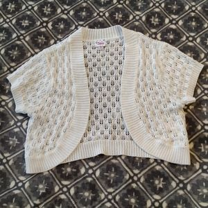 Justice Shrug Sweater Cardigan Bolero 16 18 white
